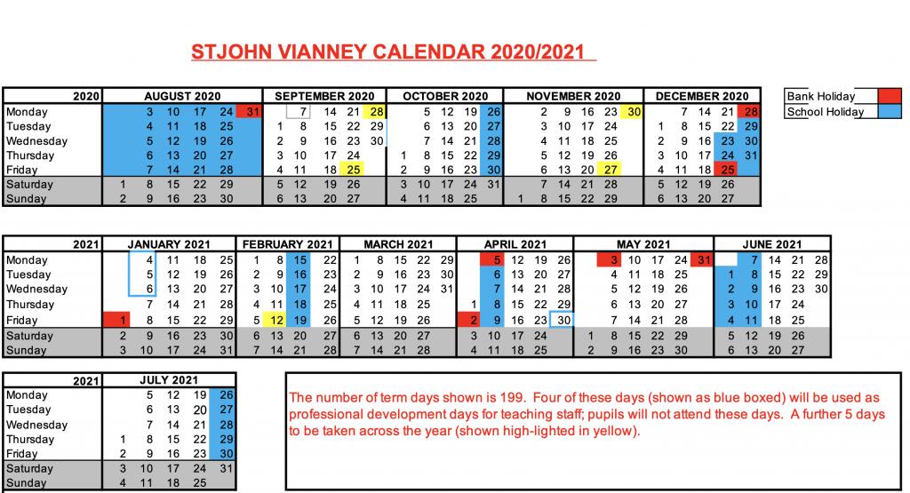 2020 - 2021 term dates